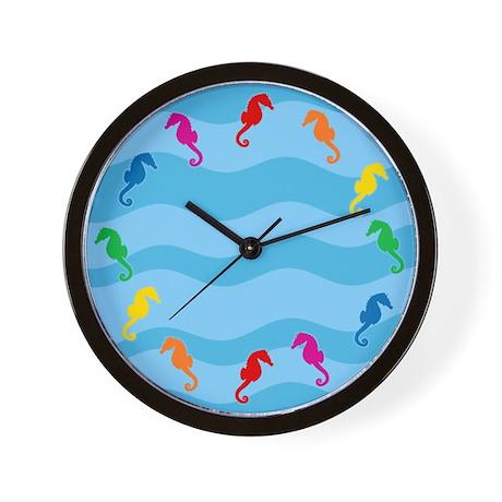 Rainbow Seahorses Wall Clock