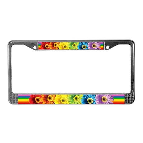 Rainbow Daisies License Plate Frame