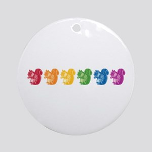Rainbow Squirrels Ornament (Round)