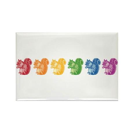 Rainbow Squirrels Rectangle Magnet
