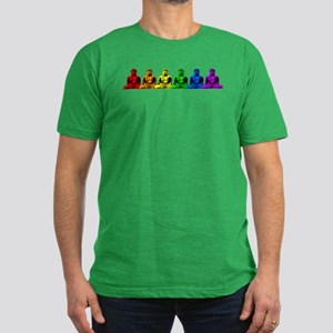 Row of Rainbow Buddha Statues Men's Fitted T-Shirt