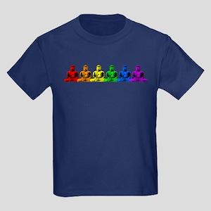 Row of Rainbow Buddha Statues Kids Dark T-Shirt