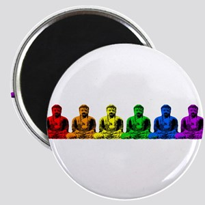 Row of Rainbow Buddha Statues Magnet