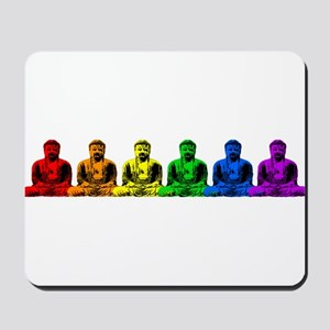 Row of Rainbow Buddha Statues Mousepad