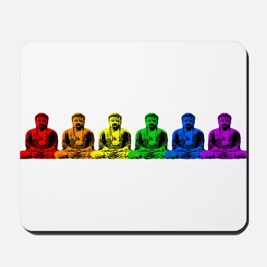 Row of Rainbow Buddha Statues Mousepad