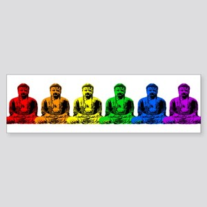 Row of Rainbow Buddha Statues Sticker (Bumper)