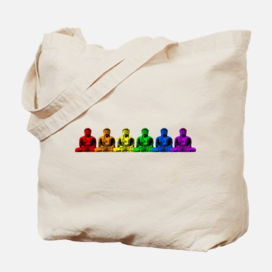 Row of Rainbow Buddha Statues Tote Bag