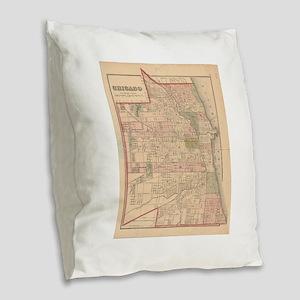 Vintage Map of Chicago Illinoi Burlap Throw Pillow