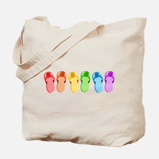 Rainbow Flip-Flops Tote Bag