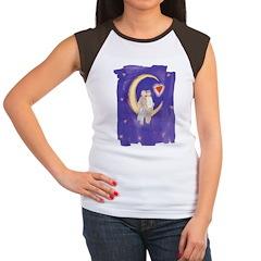 Cute Couple on Moon Women's Cap Sleeve T-Shirt