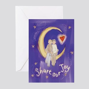 Cute Couple on Moon Greeting Cards (Pk of 10)