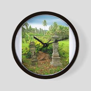 Balinese Rice Field Shrines Wall Clock