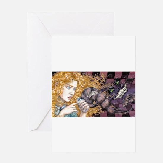 Alice & Cheshire (dark) Greeting Card