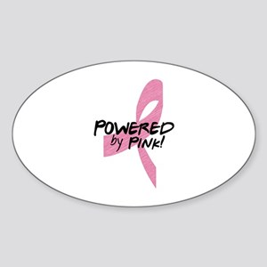 Powered by Pink Ribbon Sticker (Oval)