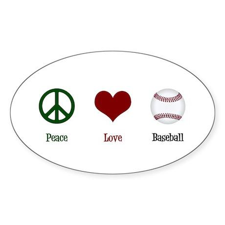 Peace Love Baseball Sticker (Oval)