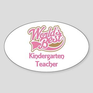 Worlds Best Kindergarten Teacher Sticker (Oval)