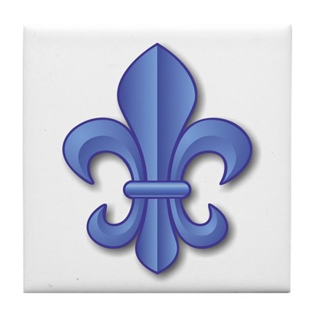 Blue Fleur de Lys Tile Coaster