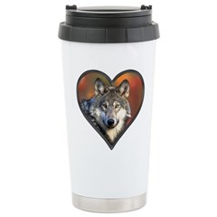 Wolf Heart Stainless Steel Travel Mug