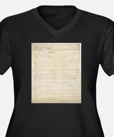 Cute Us constitution Women's Plus Size V-Neck Dark T-Shirt