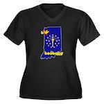 ILY Indiana Women's Plus Size V-Neck Dark T-Shirt