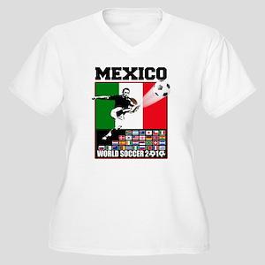 Mexico World Soccer Fútbol Women's Plus Size V-Nec