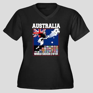 Australia World Soccer Goal Women's Plus Size V-Ne