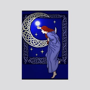 Celtic Moon Woman Rectangle Magnet
