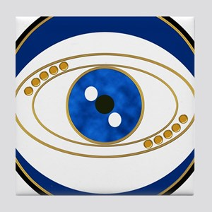Blue evil eye with gold accents Tile Coaster