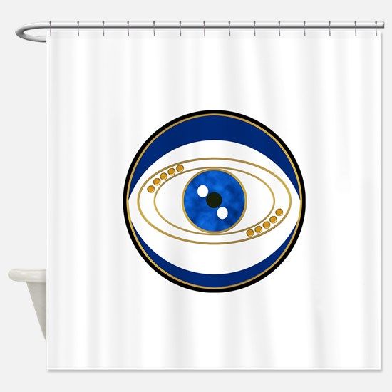 Blue evil eye with gold accents Shower Curtain