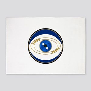 Blue evil eye with gold accents 5'x7'Area Rug