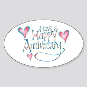 Happy Anniversary Oval Sticker