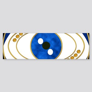 Blue evil eye with gold accents Bumper Sticker