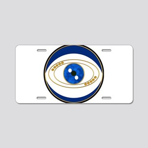Blue evil eye with gold acc Aluminum License Plate
