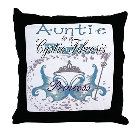 Auntie to a Cystic Fibrosis Warrior Blue Throw Pil