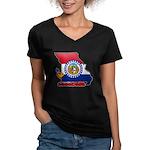 ILY Missouri Women's V-Neck Dark T-Shirt