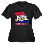 ILY Missouri Women's Plus Size V-Neck Dark T-Shirt