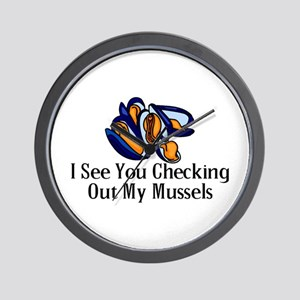 Checking Out Mussels Wall Clock