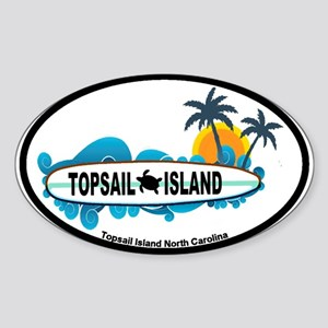 Topsail Island NC - Surf Design Sticker (Oval)