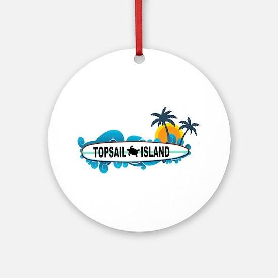 Topsail Island NC - Surf Design Ornament (Round)