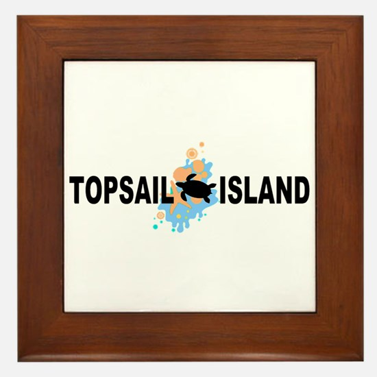 Topsail Island NC - Seashells Design Framed Tile