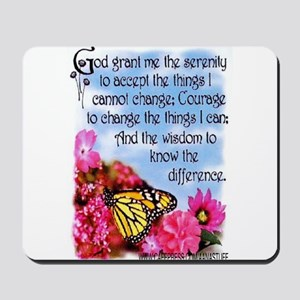 FLOWERED SERENITY PRAYER Mousepad