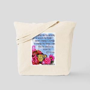 FLOWERED SERENITY PRAYER Tote Bag