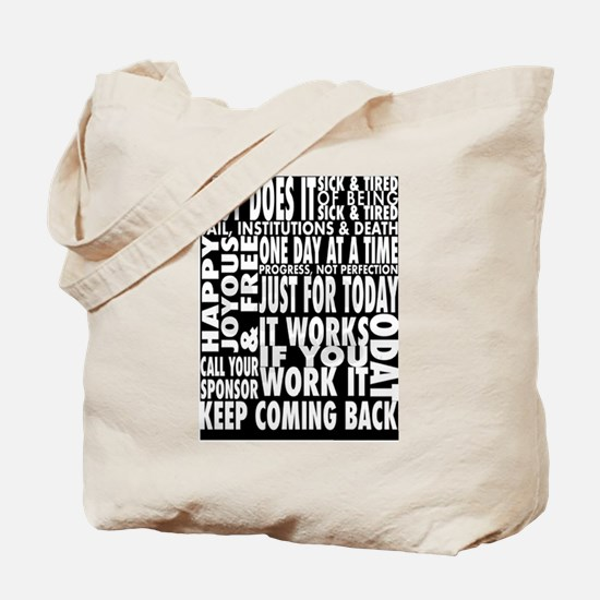 BLACK 12 STEP DESIGNS Tote Bag