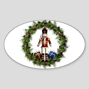 Red Nutcracker Wreath Sticker