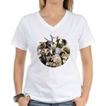 Round Sheep Collage Women's V-Neck T-Shirt
