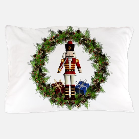 Red Nutcracker Wreath Pillow Case