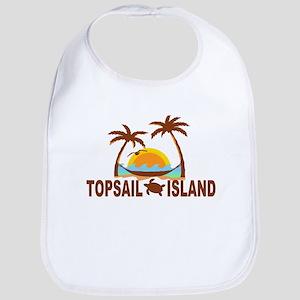 Topsail Island NC - Palm Trees Design Bib