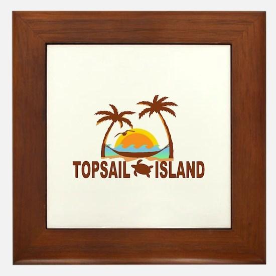 Topsail Island NC - Palm Trees Design Framed Tile