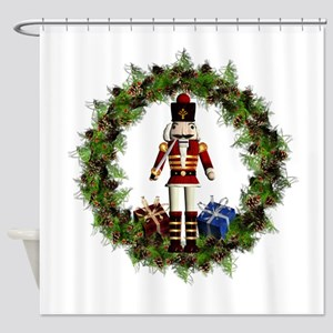 Red Nutcracker Wreath Shower Curtain