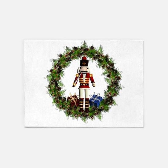 Red Nutcracker Wreath 5'x7'Area Rug